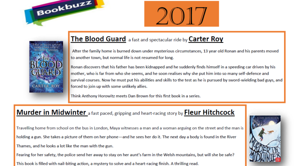Year 7 free Bookbuzz book choice Sept 2017